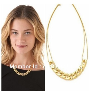 Newest Shiny Cut LIGHT GOLD Plated Chunky Aluminium Curb Chain Necklace free shipping