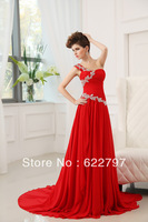 Shoulder red chiffon lace beaded tail bride evening dress