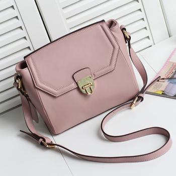 Sweet pink brief cowhide formal flip lock bag vintage bag candy bag messenger bag