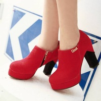 Fashion Round toe thick heel solid color dull polish platform high heels single shoes free shipping wholesale cheap price