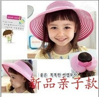 Female summer hat baby visor strawhat child beach sunbonnet parent-child cap folding