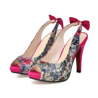 Lace print pattern bow open toe high-heeled sandals women's shoes ss d38 50