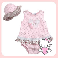 2013 Summer Hello Kitty Suit Baby Girls Pink Dot  Romper  + Hat Infant 2pcs Sets Size:70 80 90 95=4pcs/lot