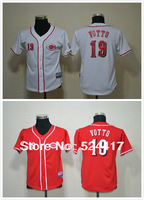Free Shipping Youth Cincinnati Reds #19 Votto CoolBase Jersey, Kids baseball Jersey