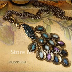 Free shipping 2013 stylish Hot sale,Peacock Necklace,Sweater chain decoration,Copper Alloy material,drop shipping E10497SL(China (Mainland))