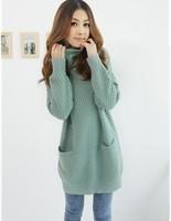 2013 spring and autumn women's dimond plaid medium-long turtleneck sweater Women sweater