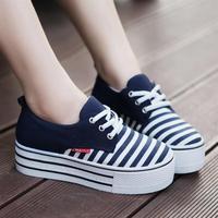 Hot! women's platform sneaker shoes elevator low stripe Height increasing canvas Shoe EU 35-39 for girl