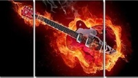 "MODERN ABSTRACT HUGE Wall Decor OIL PAINTING On Art Canvas ""Guitar "" 3PC"