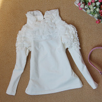 2013 female child 100% cotton lace decoration princess sleeve all-match child basic T-shirt long-sleeve shirt