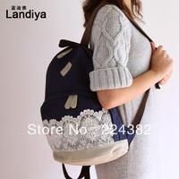 2013 fashion men women knapsacks ladies lace canvas travel sports backpack children's school bag gym rucksack blue Free Shipping