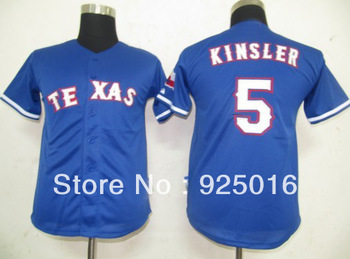 free shipping youth  baseball jersey  Texas Rangers #5 Ian Kinsler blue cool base kids  jerseys can mix order  jerseys