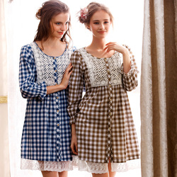 2013 spring and summer sleepwear lounge female nightgown sweet yarn dyed plaid long-sleeve dress 8805(China (Mainland))