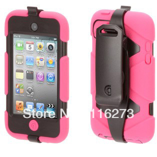 BS-IT41170A Silicone + Hard Plastic Case Cover For ipod touch 4 + Belt Clip With Retail Box Packaging(China (Mainland))