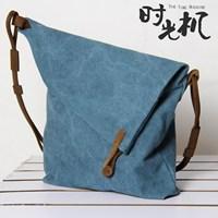 2013 FREE SHIPING Vintage canvas bag crazy horse leather messenger bag preppy style unisex casual women's handbag