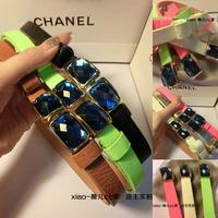2014 fashion belt X c 2013 belt adjustable neon color gem buckle belt candy color japanned leather strap Women  new chain belt