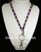 wholesale crystal lanyard Crystal decorative rhinestone neck lanyard strap DHL free shipping Mix 10 color