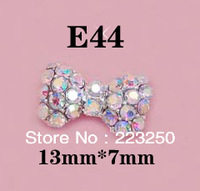 Free Shipping 100pcs/Bag 13*7mm Bowknot 3D Metal Nail Art Decorations +Shining Rhinestones E44 Alloy Crystal Metallic Diamond