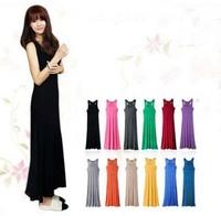New! 12 colors 2013 bohemia spaghetti strap full dress summer fashion modal vest one-piece dress free shipping