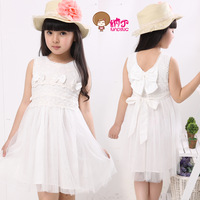 Children's clothing female child summer child 2013 solid color sleeveless one-piece dress princess dress tulle dress