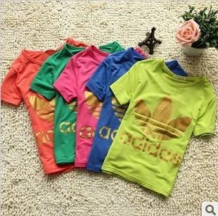 2013 summer children's clothing t-shirt shampooers modal cotton t-shirt child female child solid color short-sleeve