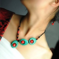 Fresh Chinese Style Turquoise Peacock Tail Shape Chinese Knot Multi-element  Asymmetrical Necklace for Lady Free Shipping