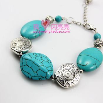 Brtf73 handmade silver jewelry bohemia national trend gem bracelet anklets 25g