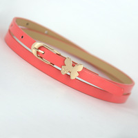 All-match neon color candy color bow japanned leather thin belt decoration belt strap female