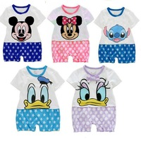 15pcs/lot short sleeve infant romper overall cartoon baby onesie summer toddler jumpsuit creeper free shipping