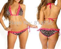 2014 Sexy Lingerie Leopard Bikini Women Underwear Swimwear Beachwear &Pink Lace Free Shipping