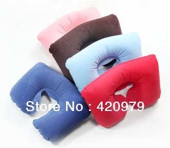 Free shipping U shape inflatable pillow travel air pillow as Air Cushion Pillow for traveling accessory Neck care product.