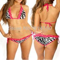 2014 Sexy Lingerie Zebra Bikini Women Underwear Swimwear Beachwear &Pink Lace Free Shipping