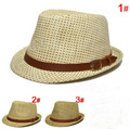 new arrival kids fedora straw girls boys hat cap children 3colors mixed 3-6ages KC-BH-02