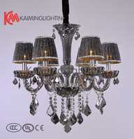 Free shipping 2013 stylish modern home decoration lighting crystal droplight cloth lampshade KM6072 - L6