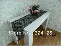 Free shipping high quality 180cm x 33cm elagance gray Flocking Fancy  table runners classical table flag