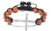 10 bead + cross Shamballa jewelry Wholesale orange Hip Hop Cross Beads Shamballa Bracelet bangle GTR264