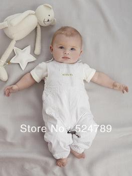 5set/lot New baby boys girls short Sleeve T shirt + suspender 2pcs Bodysuit Kids Overalls summer Clothing set Free shipping