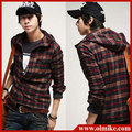 Hot sale free shipping men's designer 2013 spring Plaid Slim Hooded long-sleeved casual shirt tide man cotton hoody shirts C199