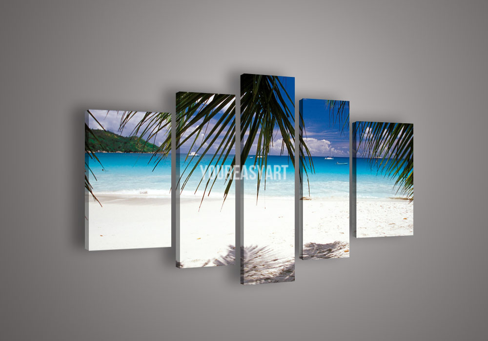 5 Panel Wall Art Beach And Palm Tree Blue Ocean Seascape Oil Painting On Canvas(China (Mainland))