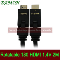 1pcs/lot 2M gold plated Nylon Shield rotatable swivel HDMI cable 1.4 hdmi with ethernet 180 Degree 3D function free shipping
