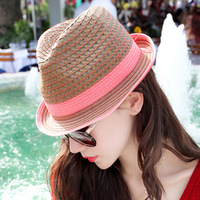 summer mesh cutout pink strawhat women's roll up hem sunbonnet sun hat