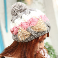 winter three-color twisted bow knitted hat ball women's hat warm hat