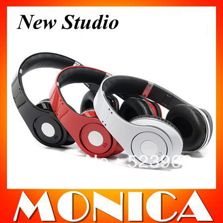 1pcs/lot New Package Studio Headphones 2013 With Control Talk 2 Red Cables Retail Box Factory Sealed Free Shippin Via DHL(China (Mainland))