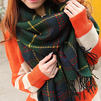 thermal winter scarf preppy style broadened plaid cape fashion large cape