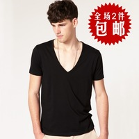 Male sexy deep v neck plus size v-neck T-shirt short-sleeve loose low collar men's clothing spring basic shirt