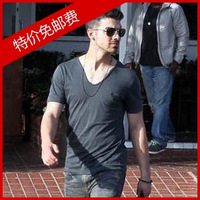 All saints jixin ling male V-neck slim male short-sleeve t-shirt plus size basic shirt spring men's clothing