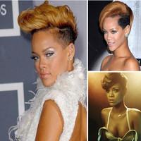 2013 Free shipping 100% Kanekalon female full wigs/rihanna short golden wigs/women golden synthetic hair wigs for sale