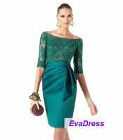 2013 Sheath Long Half Sleeves Applique Lace Bow Sashes Knee Length Satin Elegant Wedding Bride Short Green Mother Dress