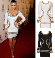 Sexy Fashion 2014 Celebrity Dresses Kim Kardashian Bandage Dress 2013 Bead  Long Full Sleeve Beading Prom Evening Party Dress