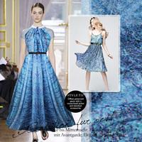 Free shipping, New 2013 spring /summer one-piece dress / skirt / formal dress blue print 140cm wide format silk chiffon fabric.