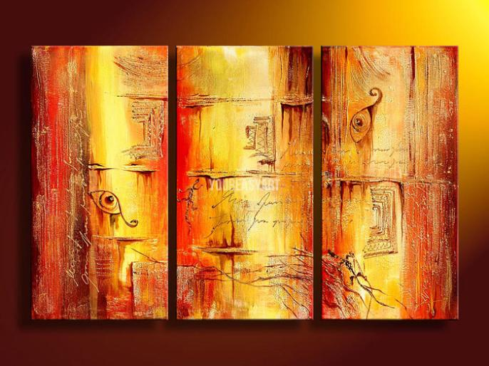 3 Piece Wall Art Modern Abstract Fresh Look Color Desert Magic Oil Painting On Canvas Paintings Modern Set For Sale Prints(China (Mainland))
